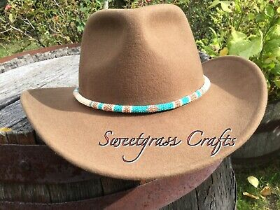 Beaded Round Hat Band, Native American turquoise Hatband, Beaded Rope Necklace,