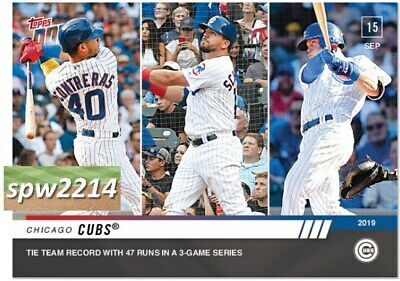 2019 Topps Now Wilson Contreras, Kyle Schwarber, Nico Hoerner #849 Cubs Record