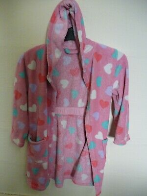 Girls Pink Hooded Dressing Gown Size 9-10 years George Soft fleece