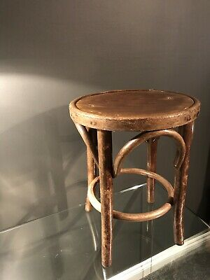 Antique Pub Bentwood Stool-plant Stand-Vintage-Seat-character-mid Century