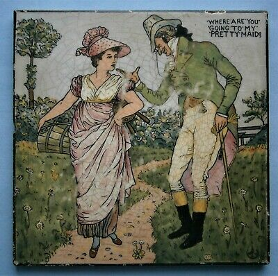 """Minton  """"Where Are You Going To My Pretty Maid"""" Nursery Rhyme Tile after W Crane"""