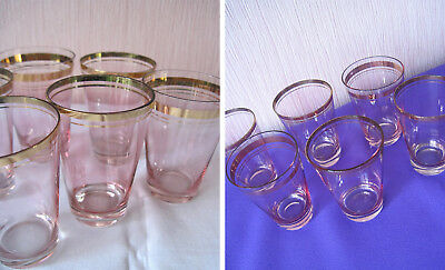 """Russian Vintage Set of 6 Shot Glasses,Manganese Glass,""""Red May"""" Factory,USSR,70s"""