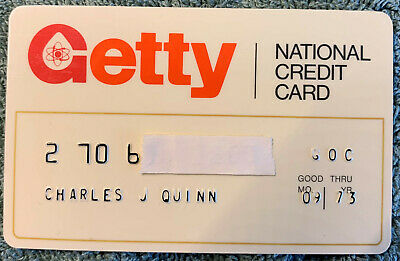 Old Vintage Getty National Credit Charge  Card