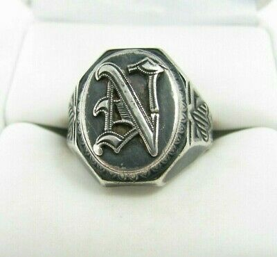 "Vintage Antique Art Deco Signet Initial ""N"" Sterling Silver Ring Sz 8"