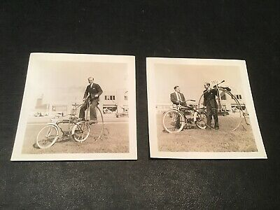 1940s Photo Lot Sears Elgin Bicycles W/ Penny Farthing Big High Wheel Bicycle