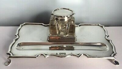 Antique Edwardian Solid Silver Desk Stand Inkwell Chester 1910 245g