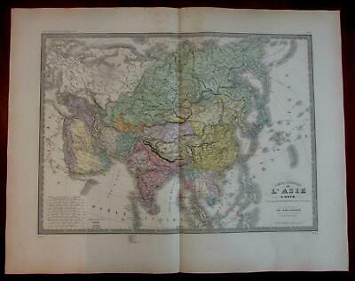 Asia continent map Arabia India China 1840 Brue large map
