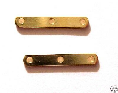 50 Gold Plated Spacer Bars 3 Hole 12x2mm Findings