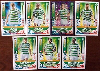 Match Attax SPFL 2018/19 Celtic 7 Card Set, Mint Condition.