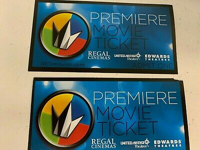 Regal cinemas premiere movie tickets (United Artist, Edwards, Regal) TWO TICKETS