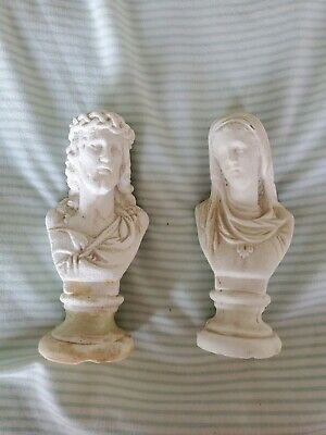 Small or Medium White Vintage / Antique Mary & Jesus Pair of Busts