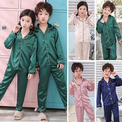 Silk Satin Pajamas Pyjamas Kids Children Lounge Wear Sleepwear Set Nightgown Hot