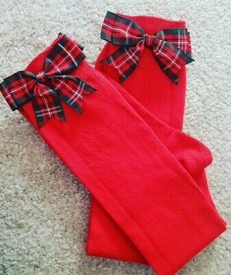 Red Girls Knee High School Socks Tartan Bows Christmas socks size 12.5-3.5