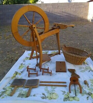 Antique ~ Spinning Wheel with Wooden Carding Brushes, Wooden Comb +