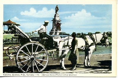 Caleche-Horse Drawn Carriage-Wagon-Buggy-Quebec-Canada-Vintage Postcard