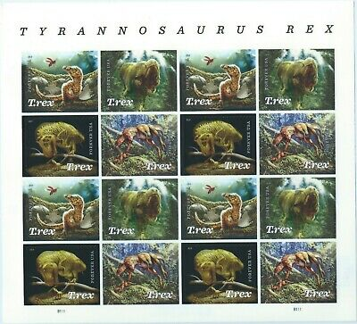 T.rex Tyrannosaurus Rex stamps Souv. Sheet 16  29 AUG 2019  Forever USPS# 479200