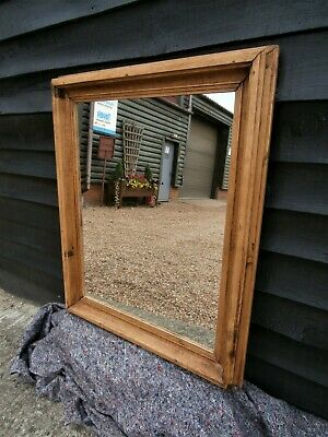 CHARACTERFUL 19th CENTURY PINE LARGE MIRROR ANTIQUE VICTORIAN