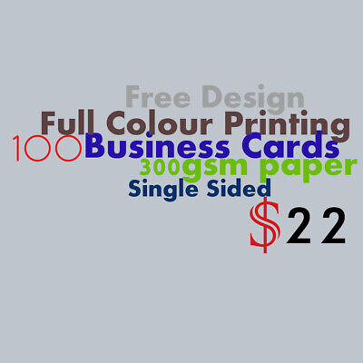 Business Cards 100 Single Sided 300 GSM Full Colour Printing Free Design
