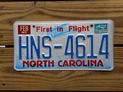 Gr8 1995 North Carolina License Plate Tag Number Hns 4614 Vintage Nc Graphic
