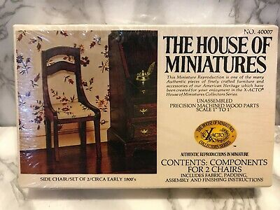 The House of Miniatures -No 40007- Set of two side chair kit- Early 1800's Style