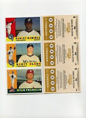 2009 Topps Heritage Advertising Panel Hanley Ramirez/Scott Olsen/Ryan Franklin
