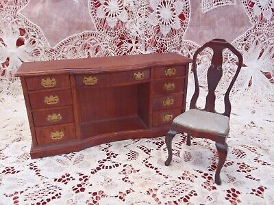 Vintage Dollhouse Miniature wooden Table Desk w/Drawers & chair Furniture