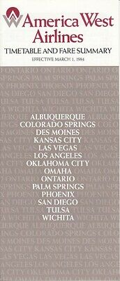 America West Airlines timetable 1984/03/01
