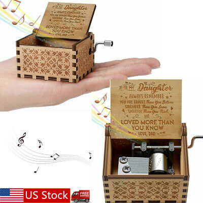 """NEW Music Box Mom/Dad To Daughter """"You Are My Sunshine"""" Engraved Toy Kid Gift US"""
