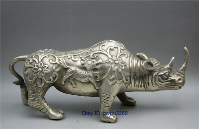 collection old Chinese Tibet silver handwork carved Kirin Rhinoceros Statue
