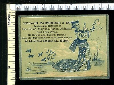 HORACE PARTRIDGE Victorian Trade Card - Hanover St Boston MA Japanese Theme