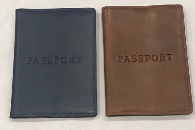 NWT J.Crew Tan And Navy Blue Leather Passport Case Holder Cover Limited Rear!