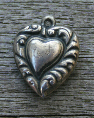 VINTAGE STERLING SILVER PUFFY HEART CHARM -Offset Inner Heart with Swirls Border