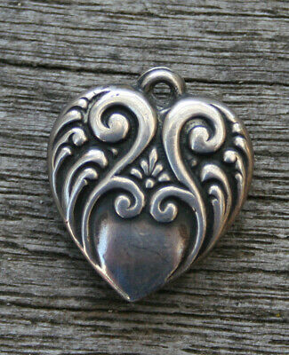 VINTAGE STERLING SILVER PUFFY HEART CHARM - Large and Small Swirls