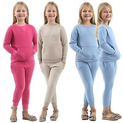 Kids Girls Two Piece Co-Ordinate Set Knit Loungewear Tracksuit Top Bottom Sets