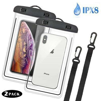 2x Waterproof Phone Pouch Dry Bag w/Portable Lanyard for iPhone 11/X/XS Max/XR