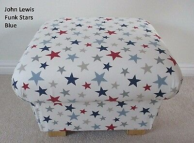 Footstool Footstall Pouffe John Lewis Funky Stars Blue Fabric Grey White Red