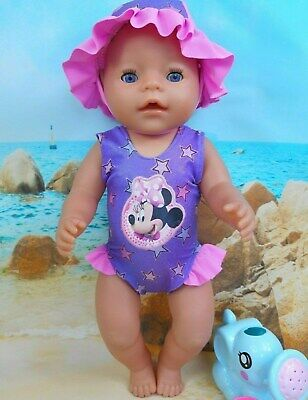 """Dolls clothes for 17"""" Baby Born doll~MINNIE MOUSE~PURPLE~STARS~ SWIMMING COSTUME"""