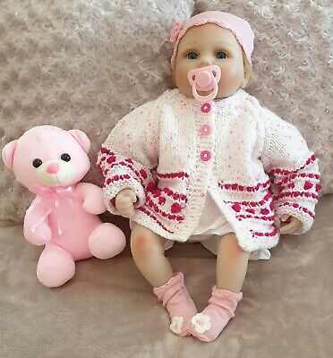 Hand Knitted Baby Girl Cardigan BRAND NEW To Fit Age 0 - 6 Months Approx