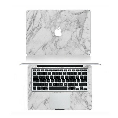 "FULL SET WHITE MARBLE Vinyl Decal Skin MacBook Pro No Touchbar 13"" Top/Mid/Back"