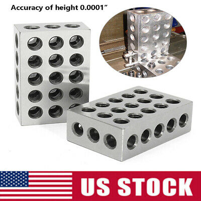 "1 Matched Pair Ultra Precision 1-2-3"" Blocks 23 Holes .0001"" Machinist 123 US"