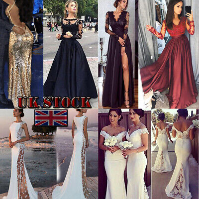 Women Lace Evening Party Ball Prom Gown Formal Cocktail Wedding Long Dress UK