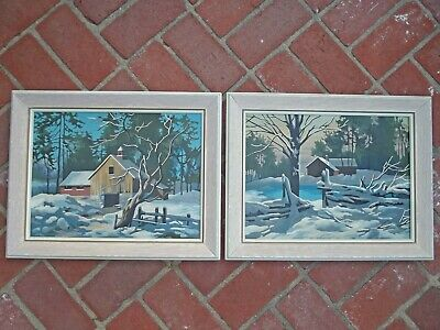 Vtg Pr Framed Paint by Number Paintings Winter Scene Country House Cabin 16 x 12