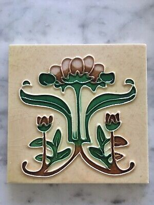 10 Art Nouveau Fireplace Tiles Majolica Tube lined