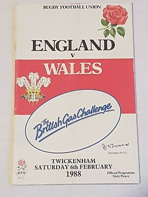 Rugby Programme England v Wales 1988