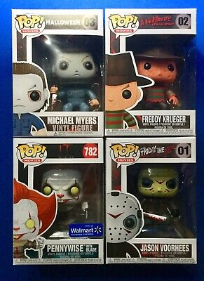 Funko Pop Horror Jason Voorhess, Michael Myers, Pennywise & Freddy Krueger