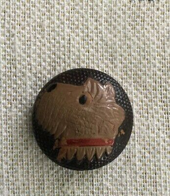 Vintage ART DECO pressed wood button Scottie terrier Highland hand painted brown