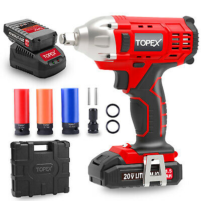 "TOPEX 2IN1 20V Cordless Impact Wrench Driver 1/2"" 1500mAh Li Battery W/ Sockets"