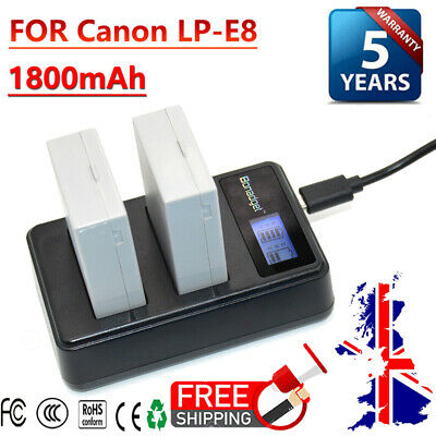 2X 1800mAh LP-E8 Battery + LCD DUAL Charger For Canon EOS 550D 600D Rebel T2i UK