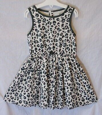 Girls M&S Grey Pink Animal Leopard Print Lined Sleeveless Dress Age 3-4 Years