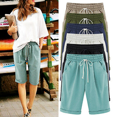 Plus Size Women's Elastic Waist Casual Cotton Shorts Half Trousers Pants Summer